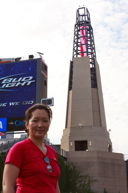 Me with the iconic 130-foot lighthouse at Gillette.