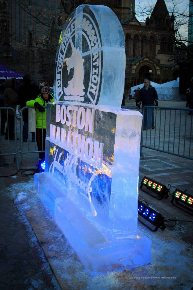 This Boston Marathon ice sculpture in Copley Square was one of many ice sculptures around the city for First Night.